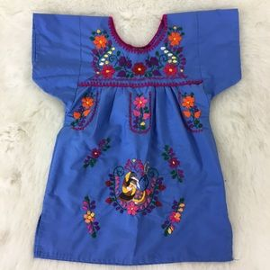 Blue Embroidered Huipil baby dress size 1